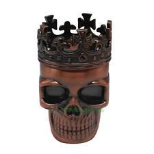 Bronze Color King Skull Crown Cross Design Tobacco Spice Grinder Crusher Muller