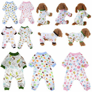 Pet-Dog-Pajamas-Clothes-Jumpsuit-Puppy-Coat-Apparel-Soft-Cotton-Cartoon-Printed