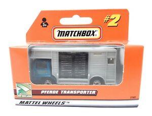 Matchbox-MBX-Superfast-1999-Nr-2-Bedford-Pferdetransporter-blau-grau-Deutsche-Ausgabe