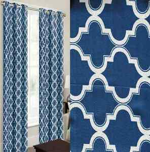 2 panels navy white thermal 100 blackout grommet window curtain lined lan ebay. Black Bedroom Furniture Sets. Home Design Ideas