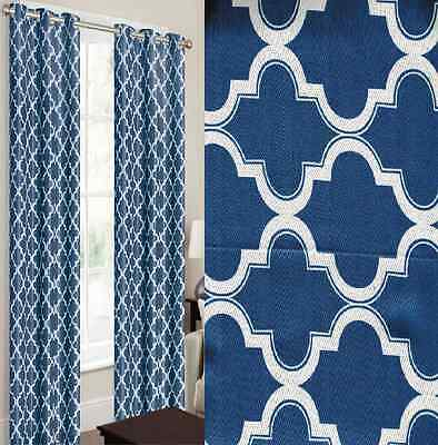 2 PANELS NAVY WHITE THERMAL 100% BLACKOUT GROMMET WINDOW CURTAIN LINED LAN