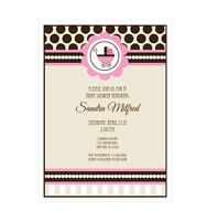 Pink Baby Shower Personalized Baby Shower Invitations - Set Of 16
