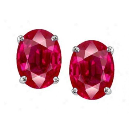 2.00-3.50CT Women/'s 925 Sterling Silver Oval Shape Ruby Stud Earrings