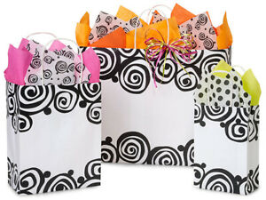 BOHEMIAN-SWIRLS-Design-Party-Gift-Paper-Bag-ONLY-Choose-Size-amp-Pack-Amount