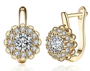Blossoing-Flower-Latchback-Earring-Made-with-Swarovski-Crystals-in-18K-Gold