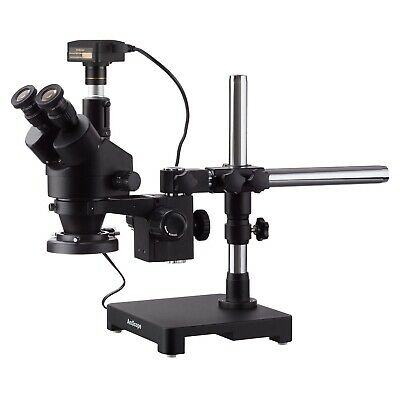 AmScope 3.5X-45X Simul-Focal Stereo Zoom Microscope on Boom Stand with a Ring Light and 14MP USB3 Camera