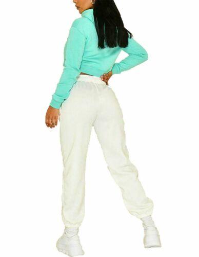 Fleece Cuffed Bottom Oversized Trousers Pants Ladies Womens Jogging Joggers Jog