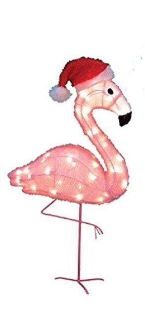 "Christmas Pre-Lit Yard Art Indoor//Outdoor Pink Flamingo 36/"" Santa Claus Hat"