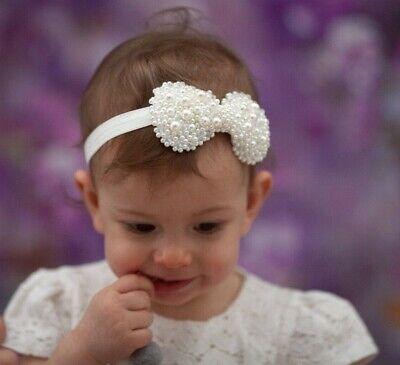 Newborn Baby Photo Rhinestone Headband Hairband Christening Pearl Wedding