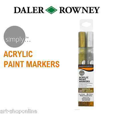 Daler Rowney Simply Acrylic Paint Marker Pen Set Gold and Silver Colours