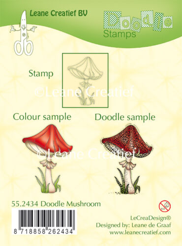 Clear Cling Rubber DOODLE Stamp MUSHROOM 55.2434 Leane Creatief