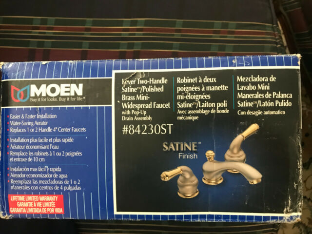 Moen Monticello Widespread Sink Faucet 4570CP Chrome//Polished Brass AS IS