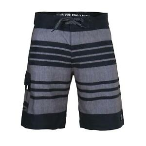 Beautiful-Giant-Men-039-s-Striped-Beach-Swimwear-Pocket-Swim-Board-Shorts-Black-Grey