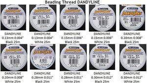 White 25 m 82 ft 0.012 Braided Beading Thread Beadalon DanyLine 0.30 mm