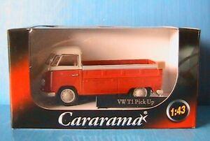 VW-T1-BULLI-PICK-UP-CARARAMA-1-43-ORANGE-GRIS-PLATEAU