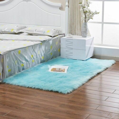 Carvapet Fluffy Shaggy Soft Faux Sheepskin Fur Area Rugs Floor Mat For Bedroom