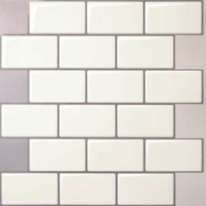 Tic Tac Tiles 3D Peel and Stick Wall Tile in Mono White (5 Sheets)