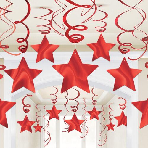 30 X Noël Nouvel An Fête étoile filante rouge feuille des Tourbillons Décoration