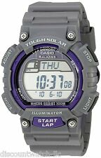Casio STLS100H-8A Mens Black Purple TOUGH SOLAR Sports Watch 5 Alarms LED NEW