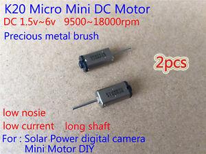 2PCS Mini silent K20 Motor 1.5v~6v 3v 5v Long Shaft Micro DC Motor For DIY Parts