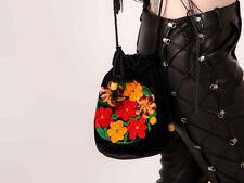 70s vintage floral embroidered velvet drawstring pouch bag boho hippy festival