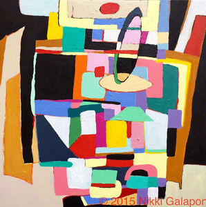 Modernism Abstract Acrylic Color Block Painting Canvas 20x20