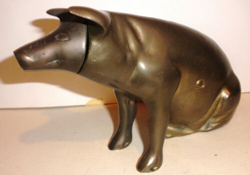 Vintage modernist brass pig money bank