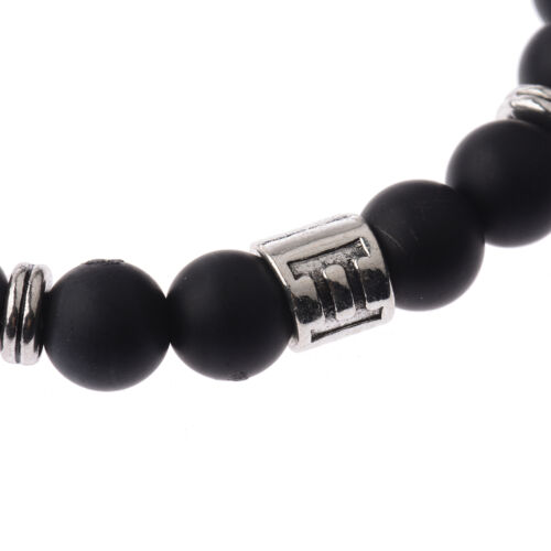 Fashion Handmade 12 Constellation Black Scrub Lava Zodiac Cuff Bangle Bracelets