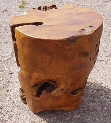 Teak Root Solid Wood Cube Side Table Lamp Stool Round Coffee Ebay