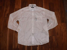 NWT Mens TOMMY HILFIGER Button Front L/S White Collar Shirt M 15-15 1/2 34/35