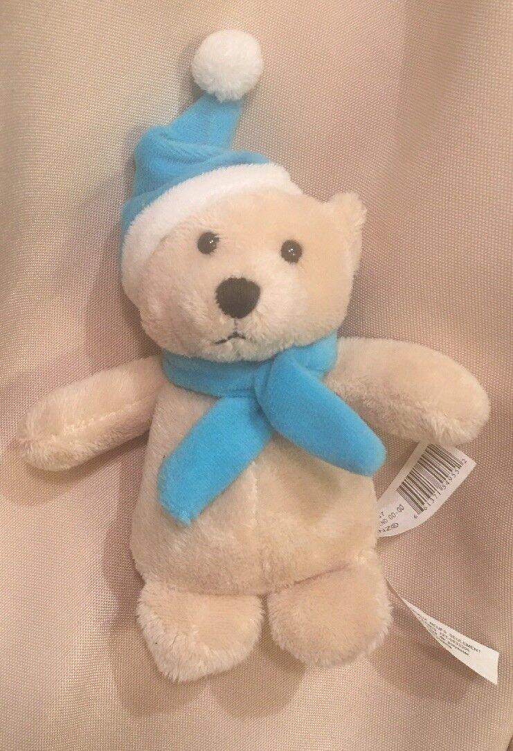 """5"""" Mini Ganz Go Go Bear Winter Friends Tan Teddy bluee Scarf Hat HTF GoGo Moves"""
