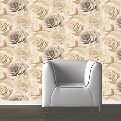 MURIVA MADISON BEIGE ROSE FLOWER FLORAL BLOOM FEATURE DESIGNER WALLPAPER 119504