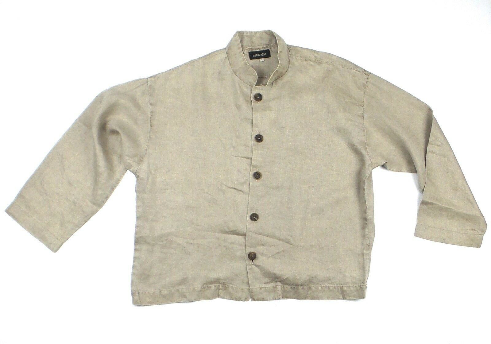 ESKANDAR Linen Button Down Top Shirt Größe 1