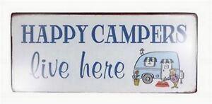 Retro Blechschild Spruch Happy Campers Live Here Vintage Deko