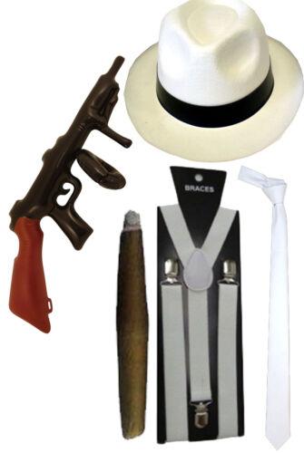NEW MENS WHITE HAT TIE BRACES GANGSTER FANCY DRESS AL CAPONE ROARING PIMP CIGAR
