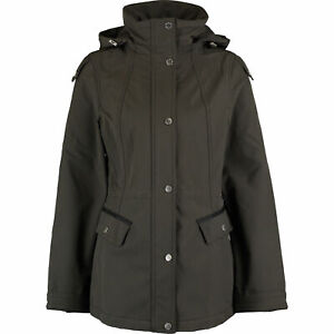 Details about FRENCH CONNECTION Women's Soft Shell Hooded Jacket, Dark Olive, size XS
