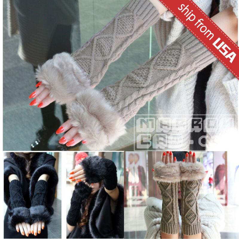 Nice Us Fashion Women Knitted Fingerless Long Winter Gloves Soft Warm Mitten Faux Fur Traveling