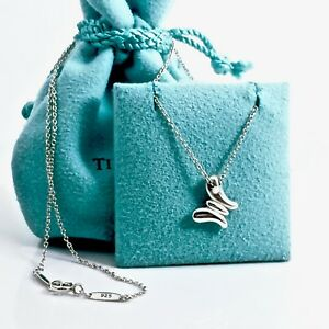 1bc0e2ea9 Tiffany & Co Sterling Silver Mini Puff Butterfly Pendant Necklace ...