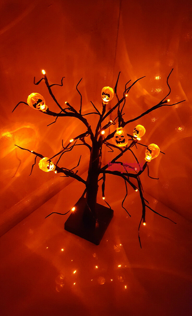 24 Orange LED Light Up Pumpkin Tree Party Prop TABLE- WINDOW-DECOR