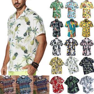 Men-039-s-Floral-Short-Sleeve-Blouse-Hawaiian-Shirts-Summer-Beach-Retro-T-Shirt-Tops