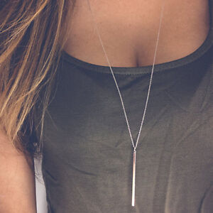 Long Necklace Thin Chain Simple Delicate Dainty Y Drop Lariat Tassel Silver Gold