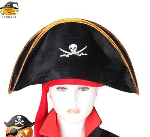 Kids Halloween Pirate Skull /& Crossbones Jolly Roger Sea Ship Captain Hat Cap