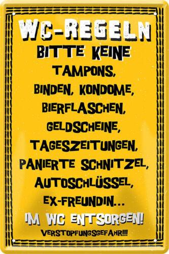 Blechschild Metall Deko lustige Schilder 20x30cm Tür WC Toiletten  Wandschild