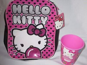 HELLO KITTY MINI FASHION BACKPACK + TUMBLER CUP NEW SET HEARTS & BUBBLEGUM
