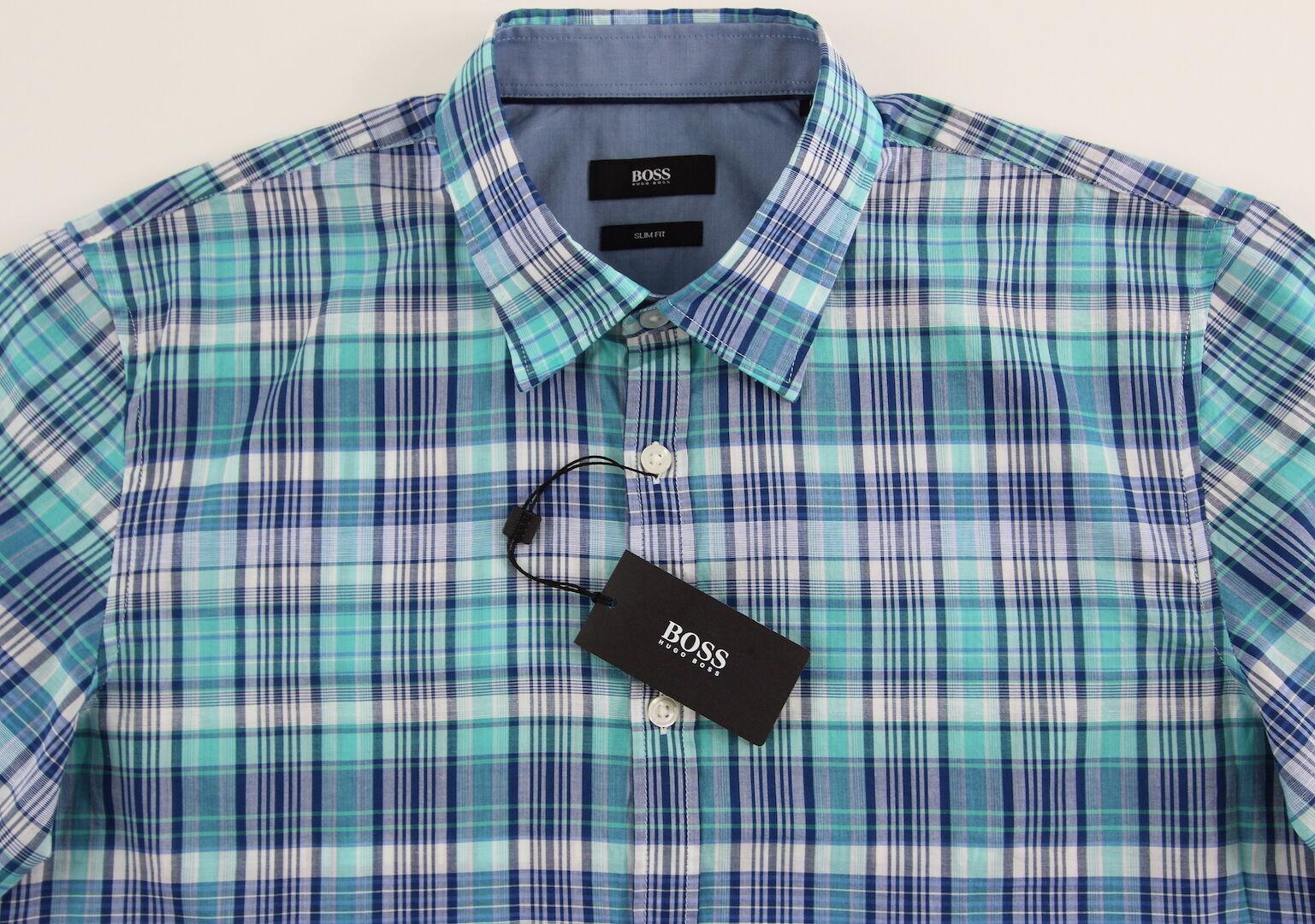 Men's HUGO BOSS White Aqua Navy Plaid Short Sleeve S S Shirt Medium M NWT NEW