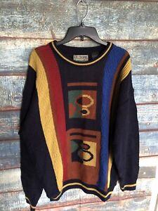 Vintage-Le-Tigre-Pullover-80s-90s-Herren-Grosse-Retro-Geometrische-Acryl-auf-See-Munitionskiste