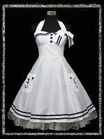 dress190 Weiß Sailor-Art 50er Rockabilly Abschlussball Brautjun Kleid EUR 52-54