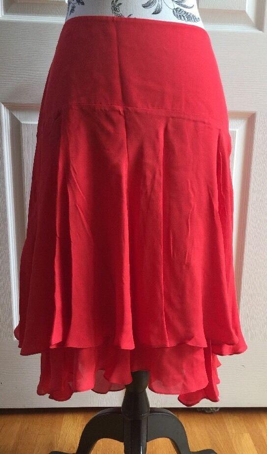 Lauren Ralph Lauren Varsity Red Pleated Layered Silk Skirt Ladies Size 6