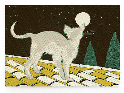 "DIN A6, Rückseite unbedruckt Illustrierte Postkarte /""Nasse Katze/"""