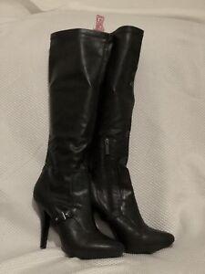 Nine-West-Black-Knee-high-Dress-Boots-4-034-Heels-Sz-9-5M-Rarely-Worn